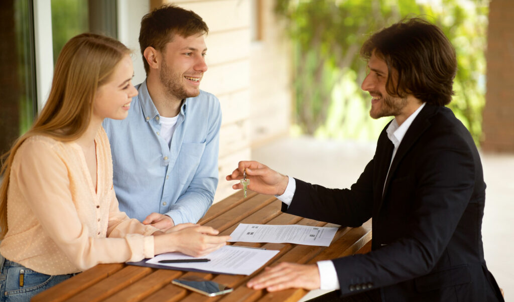 Couple talking to a home loan specialist